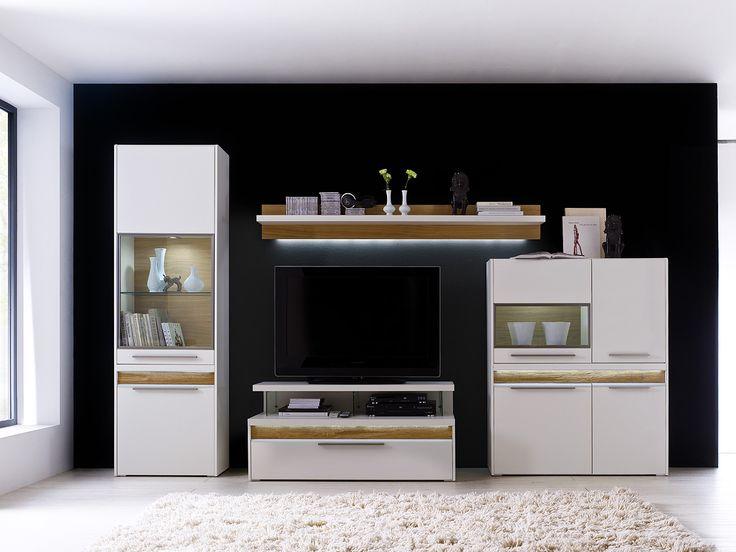 Moderner Wohnzimmerschrank Mit Glastüren Und Led Beleuchtung am ...
