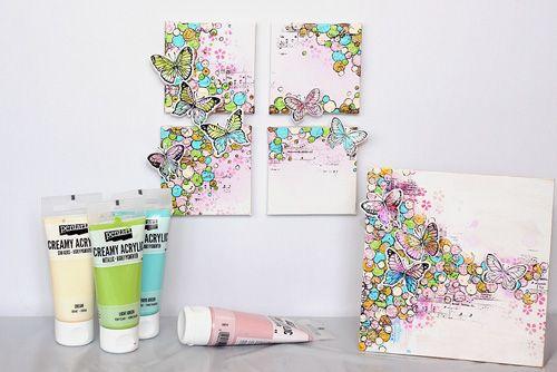 Pentart dekor: Vidám mini vászonképek, Krémes akrillal #beedee #beedeescrap #DIY #pentart #pentacolor #creamyacrylic #canvas #mixedmediacanvas #mixedmedia