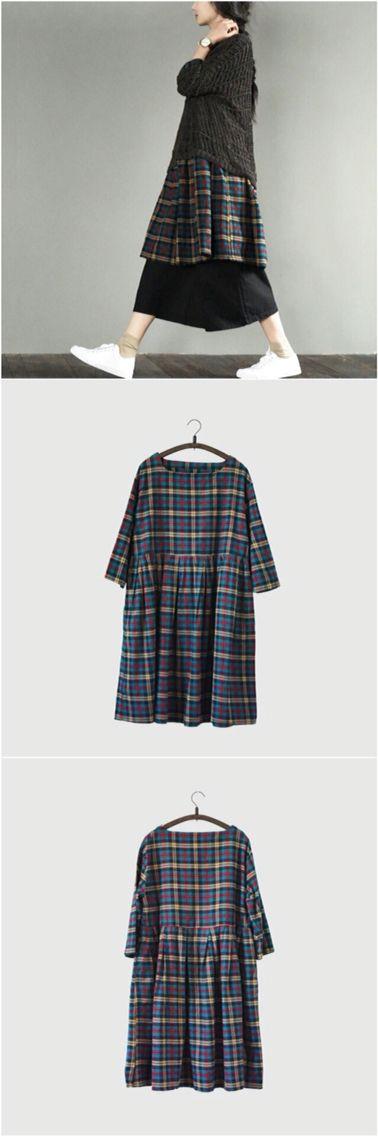 Dark color grid long dress