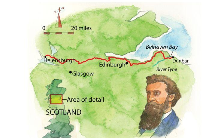 Map of the John Muir Way in Scotland