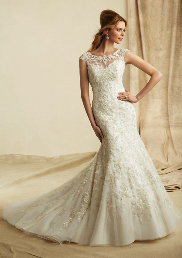 The Embroidered Lace Liques Over Net Of Angelina Faccenda 1273 Wedding Gown Is No Less