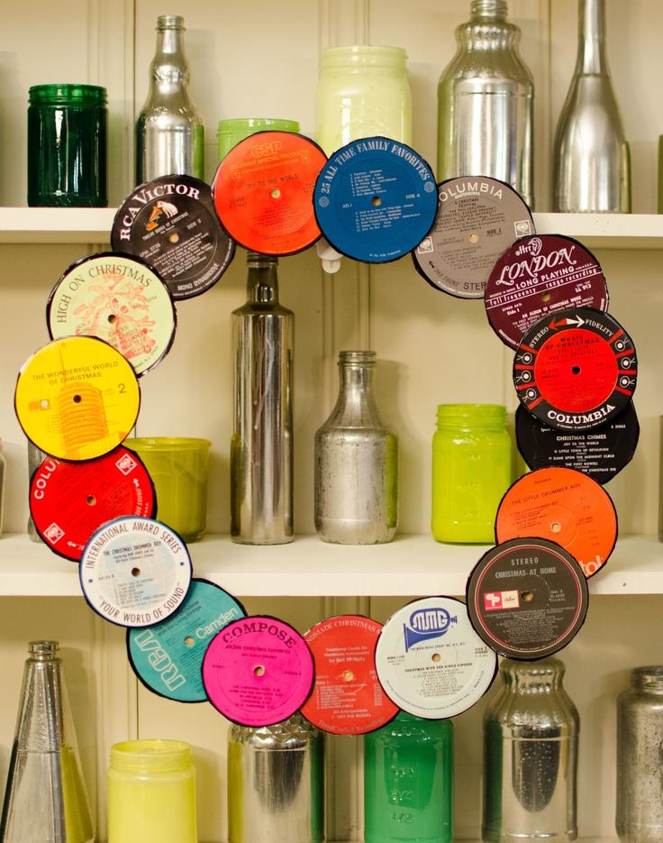 Retro Wreath w/ Vintage Record Centers