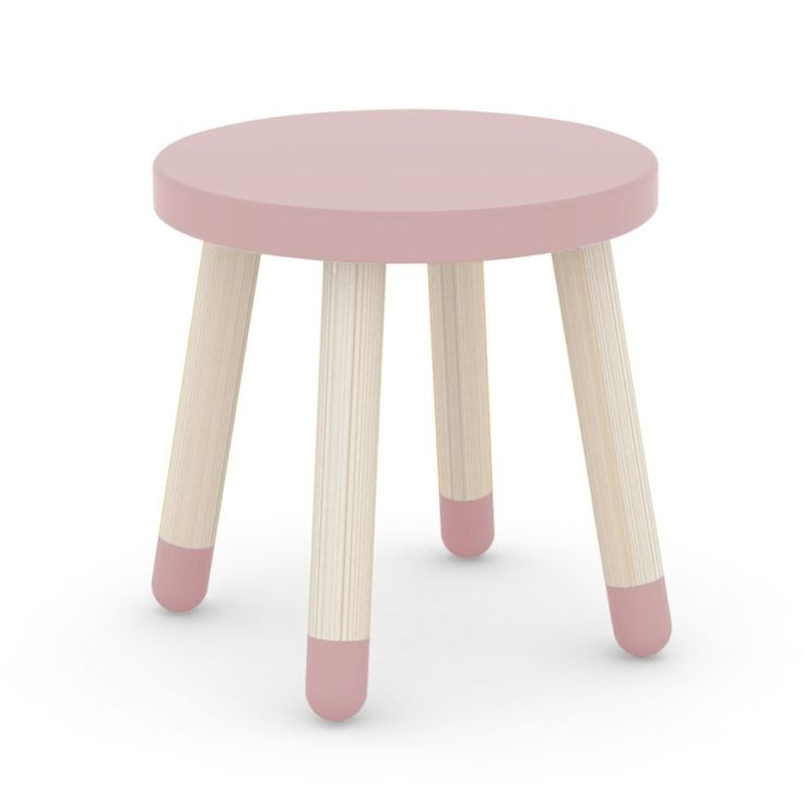 Play Holz-Kinderhocker rosa, Mdf & Esche massiv Ø 30cm