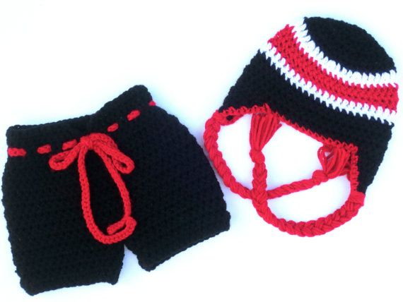 Hockey Set Baby Red White Black Team Hat by SeacliffeCottage