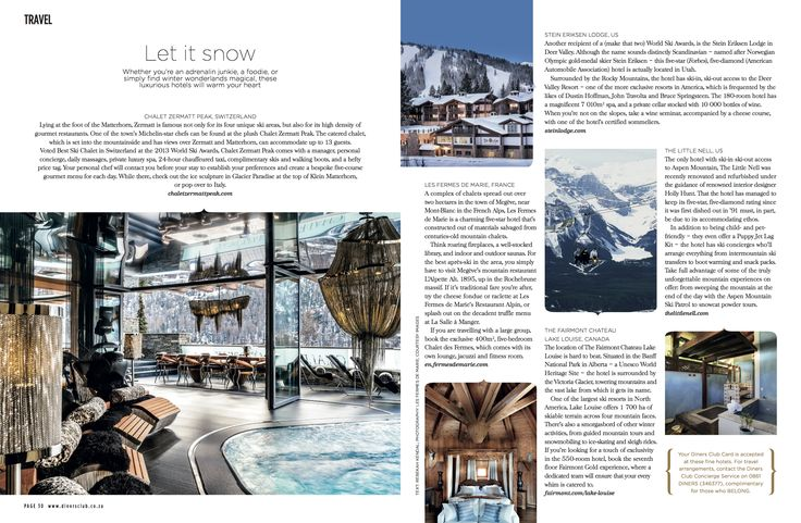 Chalet Zermatt Peak featuring in Signature magazine April 2015