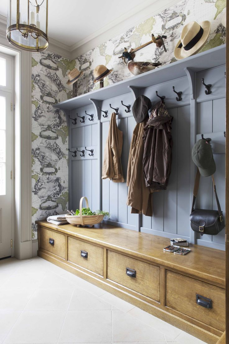 Painted and timber traditional period boot room designed for an English country house utility room. Visit our website for more images of this bespoke project.
