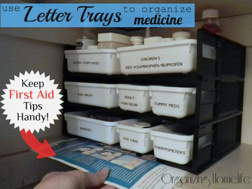 How to Organize Medicine with a Letter Tray!: Medicine Organizations, Organize Medicine, Organizations Ideas, Organizations Homelif, Letters Trays, Medicine Cabinets, Cabinets Organizations, Organizations Medicine, Perfect Products