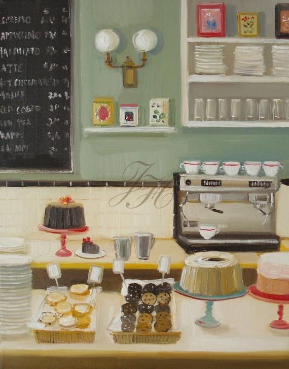 Persimmon Bundt Cake And Espresso Open Edition by janethillstudio, $26.00