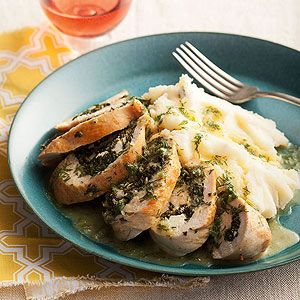Spinach and Feta Stuffed Chicken Breasts in Lemon-Dill Sauce