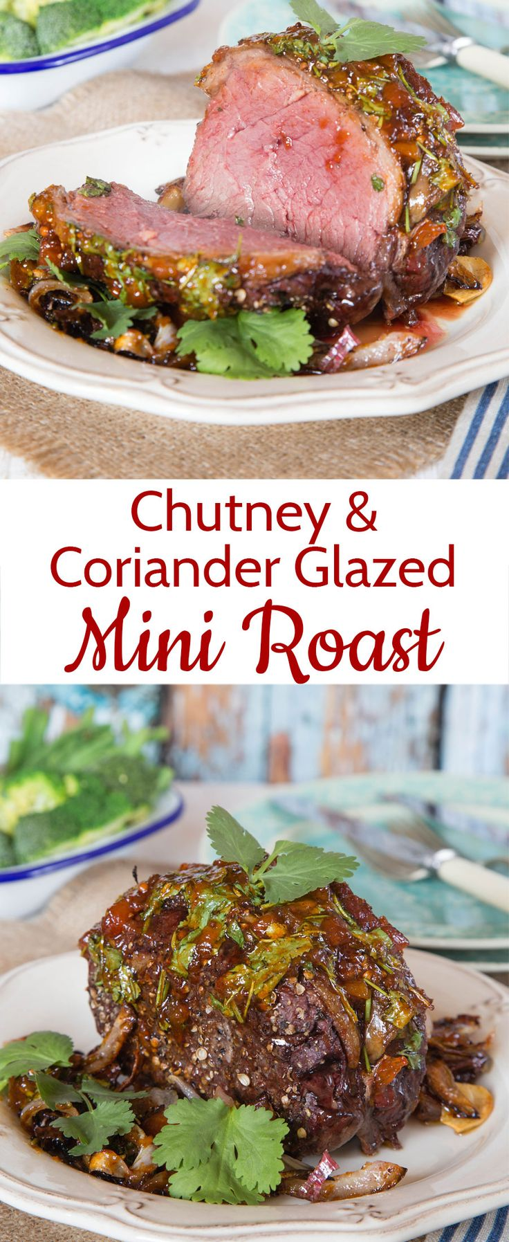 This quick cook mini roast is glazed with coriander and chutney and is perfect for mid-week dining