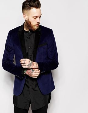 Enlarge ASOS Slim Fit Blazer in Cut and Sew Velvet http://asos.do/NYPMiM