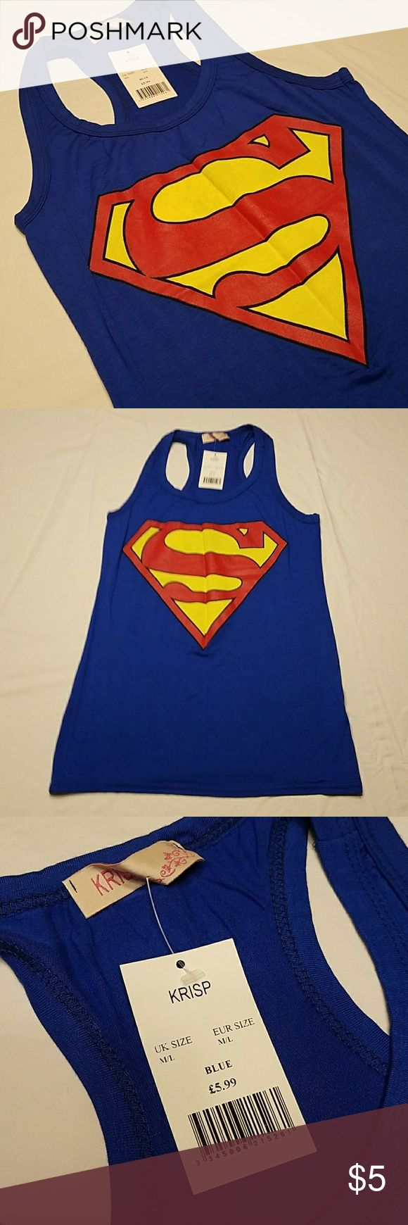 "Racerback Superman Tank Top NWT Racerback Superman Tank Top. NWT. EUR size M/L. Measures 15"" across bust, 18"" from armpit to bottom hem. Lots of stretch. Super soft material. Krisp Tops Tank Tops"