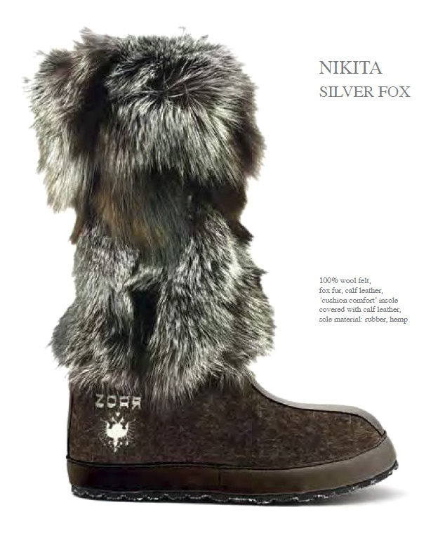 ZDAR Nikita, Silver Fox - 100% wool felt, fox fur, calf leather, 'cushion comfort' insole covered with calf leather, sole material: rubber, hemp.