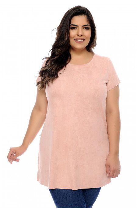 75d95d683f Blusa plus size rosa confeccionada em tecido suede