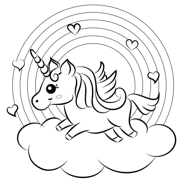 Cute Unicorn And Rainbow Coloring Pages in 2020 | Cute ...