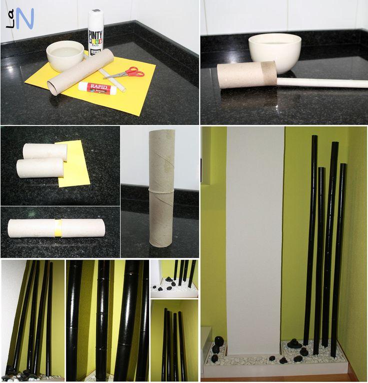Cañas de bambú reciclando tubos de cartón. Si quieres ver la explicación del paso a paso, visita: http://laneuronadelmanitas.blogspot.com.es/2013/06/hazlo-tu-mismo-bambu-de-carton.html