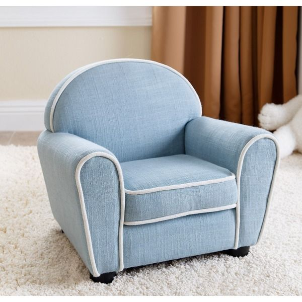 ABBYSON LIVING Kids Larsa Baby Blue Linen Armchair