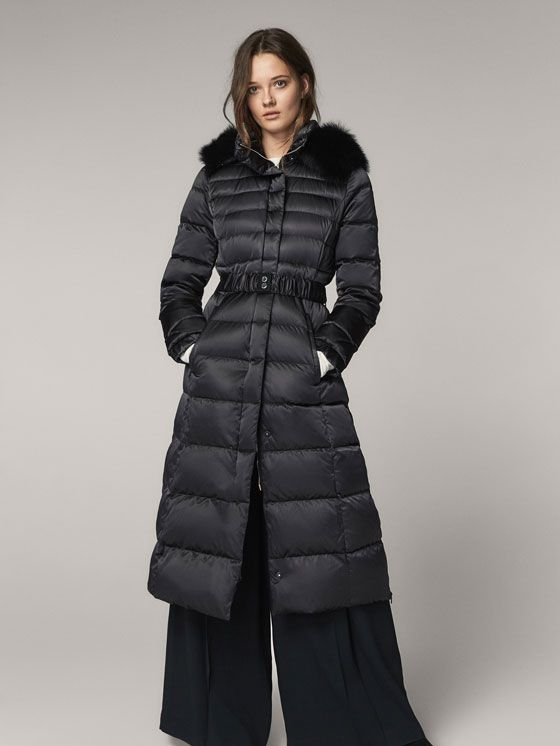 Spring Summer 2017 Women´s DOWN PUFFER JACKET WITH FUR AND BELT DETAIL at Massimo Dutti for 3299. Effortless elegance!