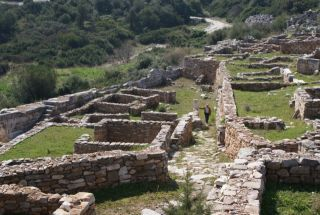 The walls of ancient homes in Rhamnous. Greece.