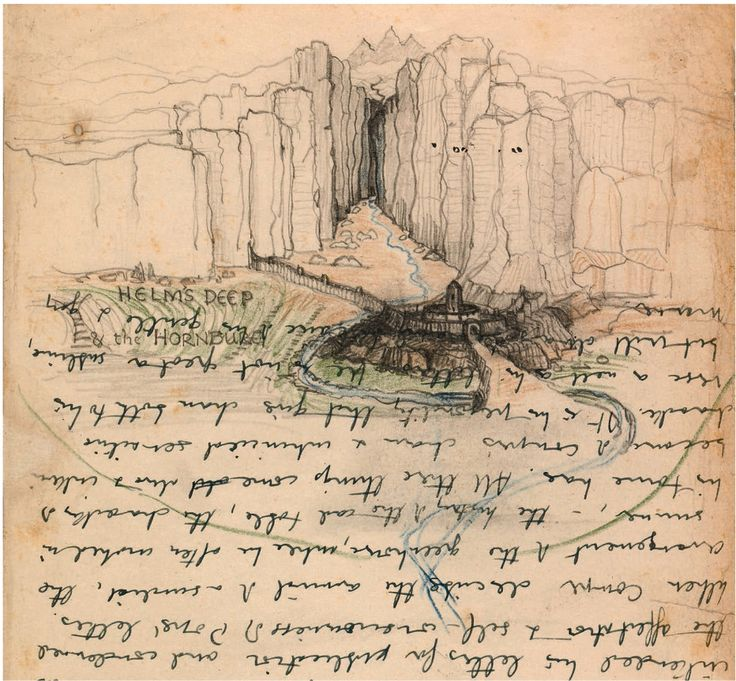 """Helm's Deep & the Hornburg"" Tolkien doodled on almost anything he could get his hands on. Here, he drew this view of Helm's Deep, the fortress retreat of the Rohirrim people, on a half-used page of an Oxford examination booklet. Courtesy of the Bodleian Libraries, University of Oxford"