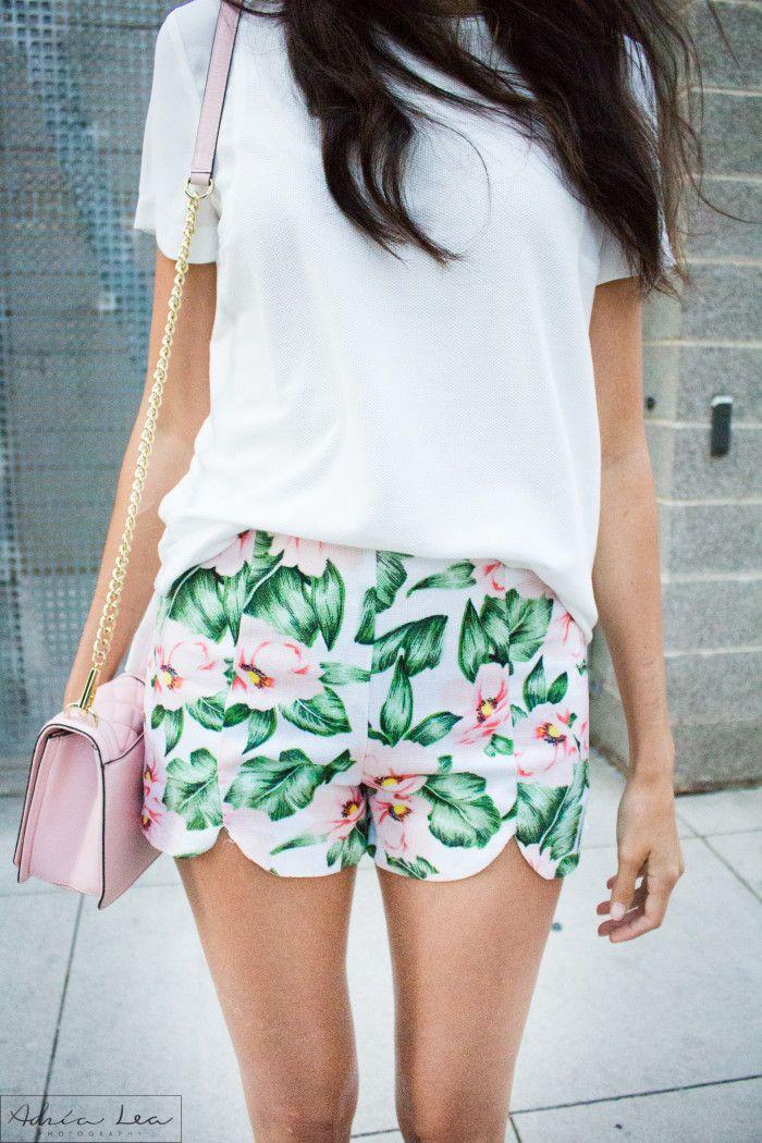 palm print shorts, vestique boutique