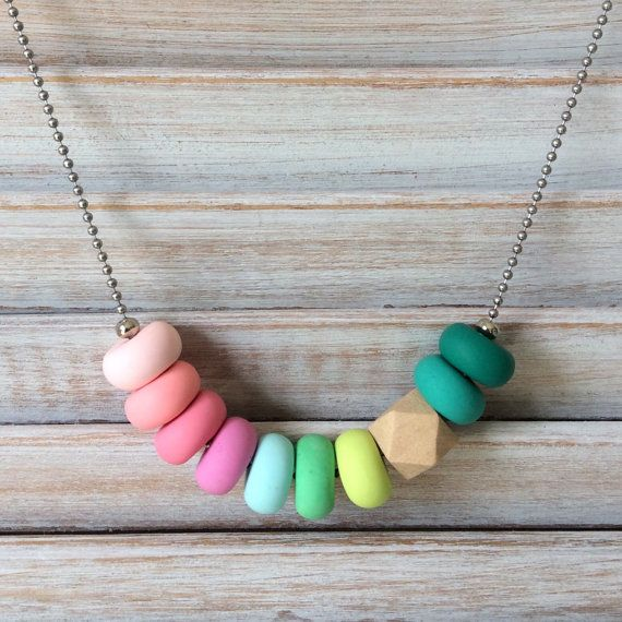 Multi coloured necklace, polymer clay necklace, beaded necklace handmade by rubybluejewels