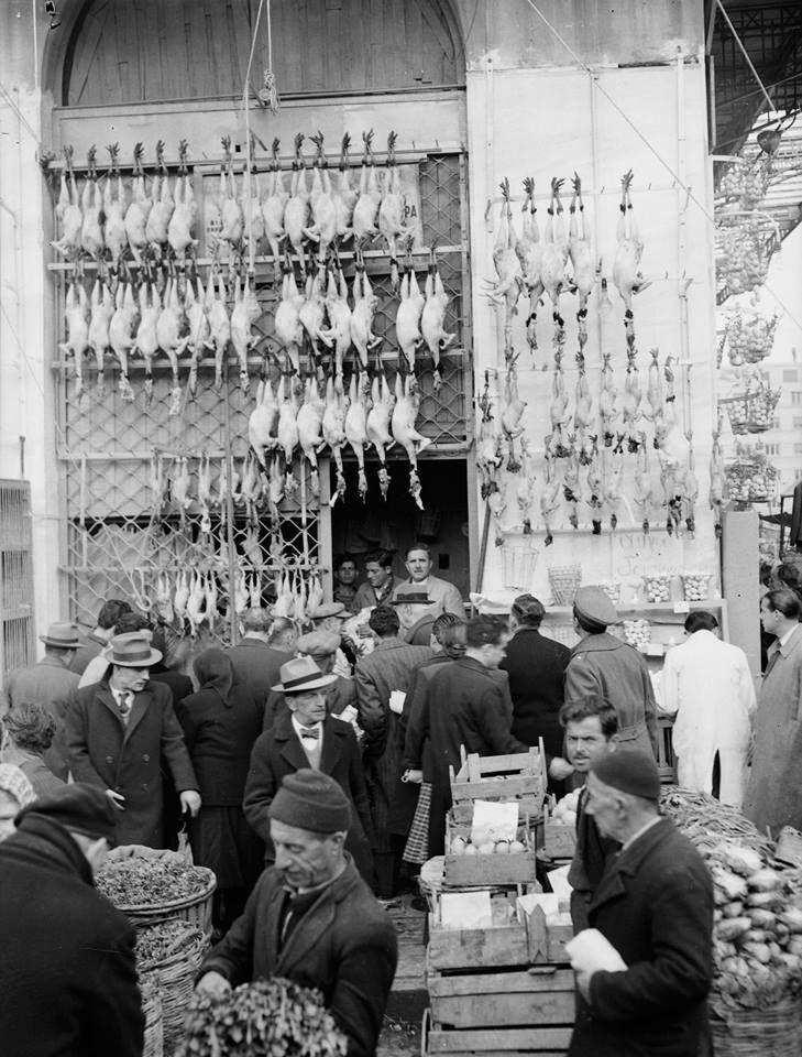 Athens food market (Varvakios Agora), 1950-1960. Photo by Kostas Megaloekonomou © Kostas Megaloeconomou Archive / Benaki Museum Photographic Archive]   #Greece