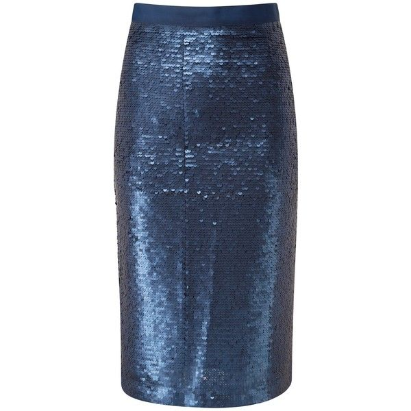 Pure Collection Arielle Pencil Skirt, Navy Sequin ($110) ❤ liked on Polyvore featuring skirts, pencil skirts, knee length skirts, navy blue skirts, blue pencil skirt and blue skirt