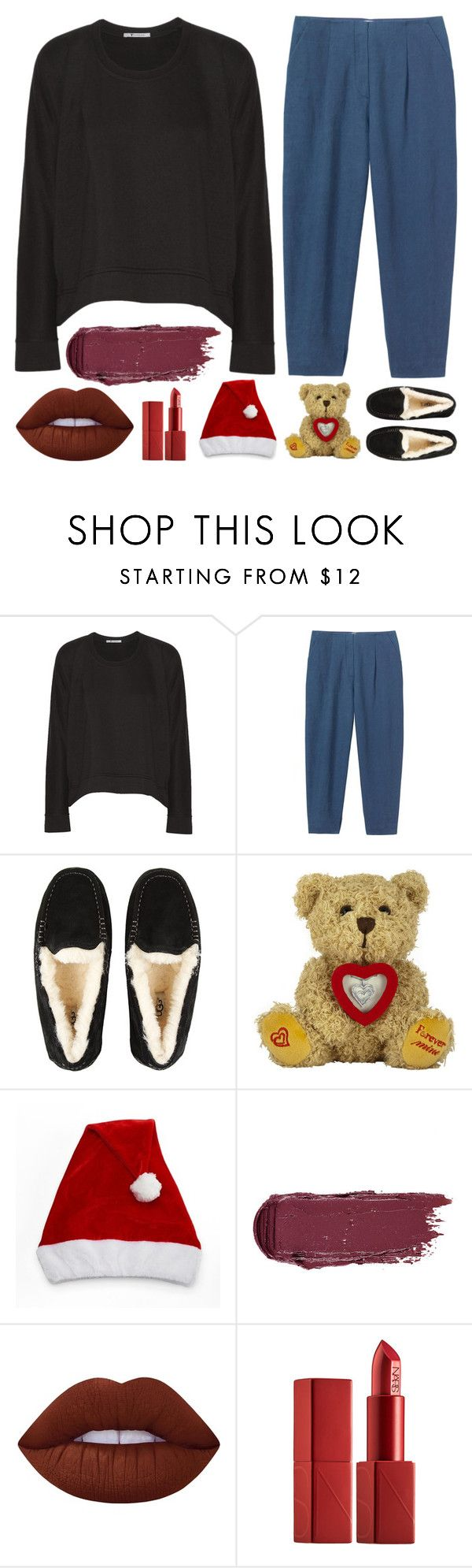"""All I want fir Christmas is ... YOU~"" by sweet-jolly-looks ❤ liked on Polyvore featuring T By Alexander Wang, UGG, Lime Crime, NARS Cosmetics, Christmas, Home, slippers and santahat"