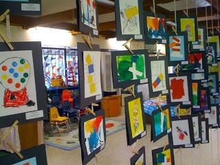 Art Preschool art display- good idea if you have space.