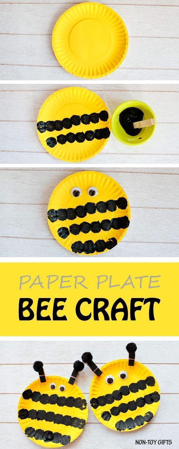 Easy paper plate bee craft for kids. This easy spring craft is perfect for an insect study unit in the classroom. Toddlers and preschoolers will love it.   at Non-Toy Gifts