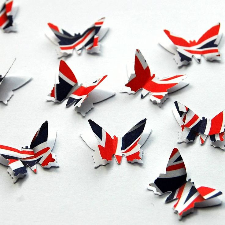 union jack 3d butterfly table confetti by brown betty stationery | notonthehighstreet.com