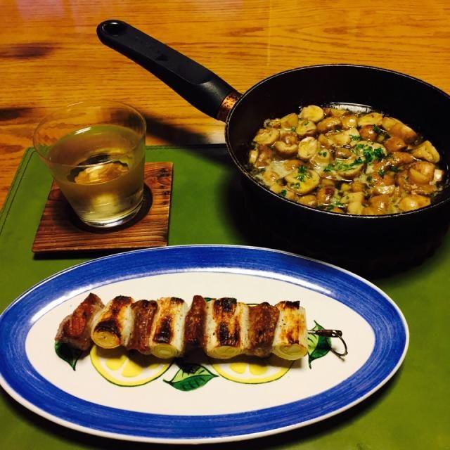 家バル - 11件のもぐもぐ - ブラウンマッシュルームのアヒージョとネギマ串焼き by pentatonic
