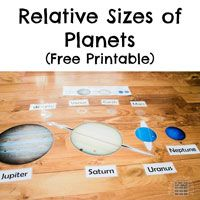 Homemade Activity with a Free Printable for Learning about the Relative Sizes of Planets, as well as Planet Names, and Their Order From the Sun
