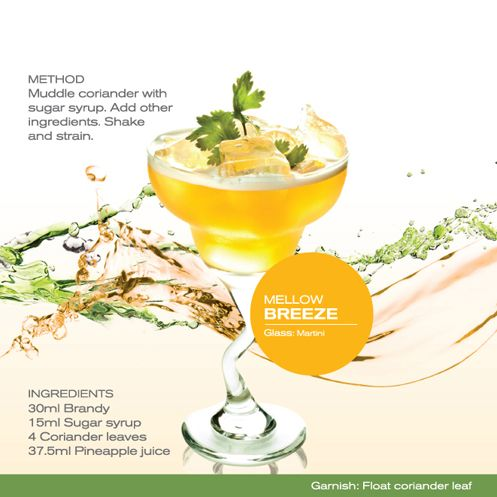 Mellow Breeze - Muddle coriander with sugar syrup. Add other ingredients.  Shake and strain.