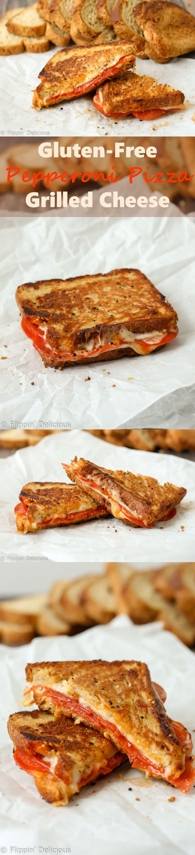 This Gluten Free Pepperoni Pizza Grilled Cheese Sandwich combines all of your favorite pizza flavors into a gooey gluten free grilled cheese sandwich! #LoveBreadAgain @canyonbakehouse AD