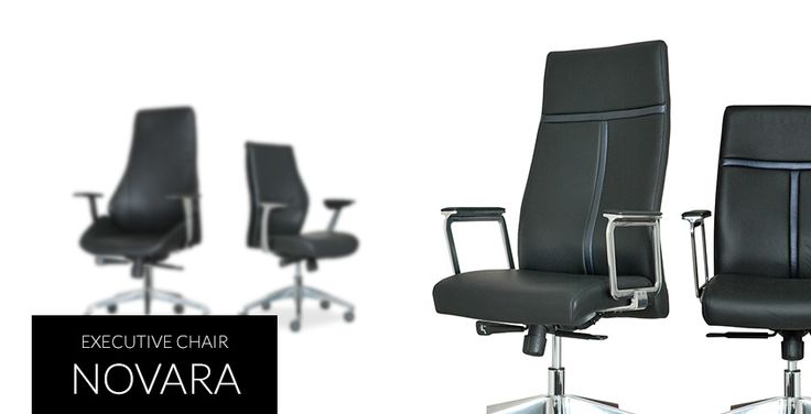 Novara | HighPoint Office Slim and sleek design for executive chair, with leather upholstery and chromed metal chair base.