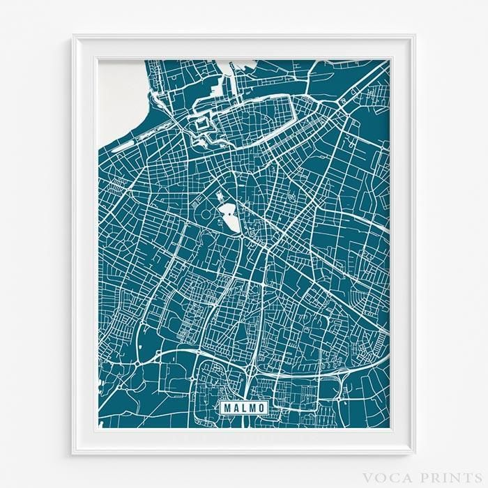 Netherlands Ns Map%0A MALMO  SWEDEN Street Map Wall Art Poster  Starting at       with    color  choices