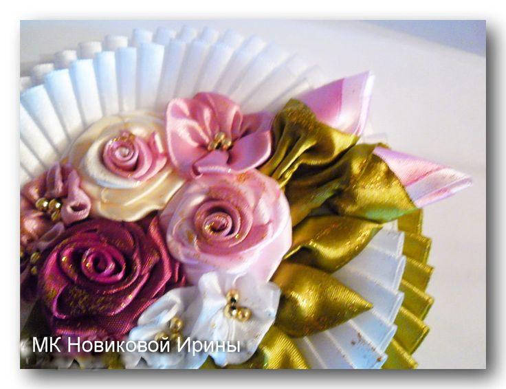 Цветы из атласных лент на открытки