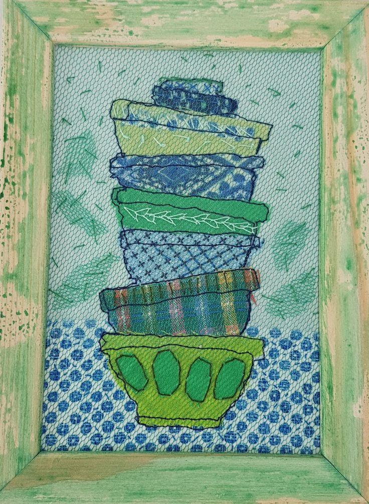 Kommen - katoen, tule en borduurwerk 13x15 cm #textile #recycled textile#embroidery stitch #textile art #wood #frame