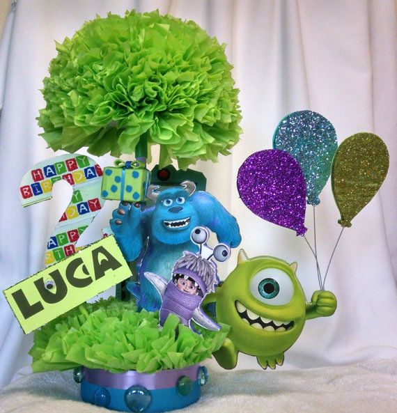 Monsters Inc Centerpiece- Birthday Centerpiece- Monsters Inc Birthday Party Decoration- Childrens Party Decoration - Party Decoration