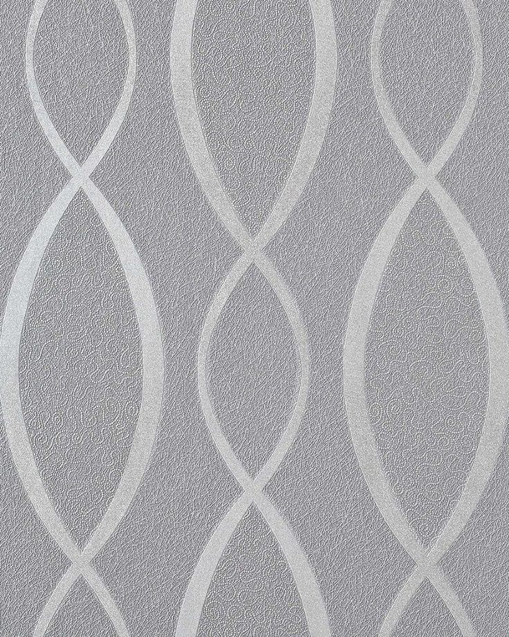 Amazon.com: Wallpaper wall fashion stripes curved lines retro 70s style textured EDEM 1018-16 vinyl grey silver: Home Improvement