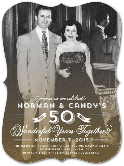 vintage themed 50th wedding anniversary party invitation with an old photo of the couple