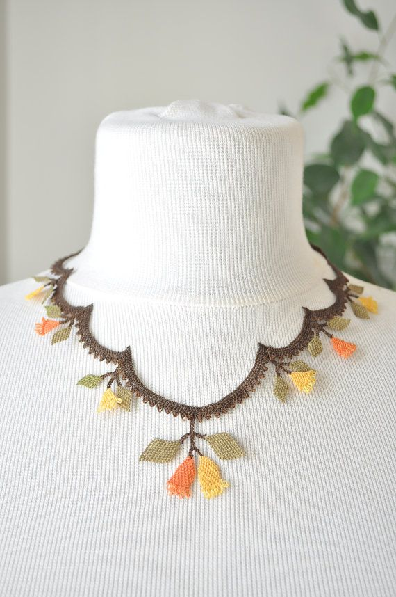 OYA Silk Needle Lace Necklace Hand made Turkish lace by OYASHOP