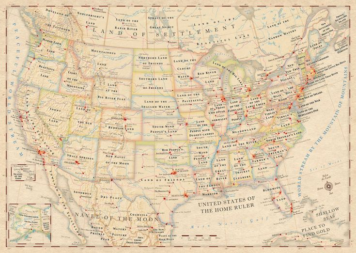 The Atlas Of True Names By Cartographers Stephan Hormes And Silke Peust Maps The United States Replacing Place Names With Their Literal Meanings