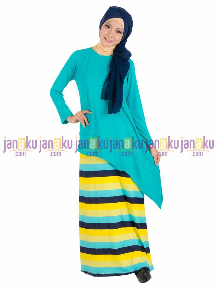 Vannara 1113318 - Busana muslim gamis tanpa lengan motif garis dengan bahan kaos yang nyaman di pakai