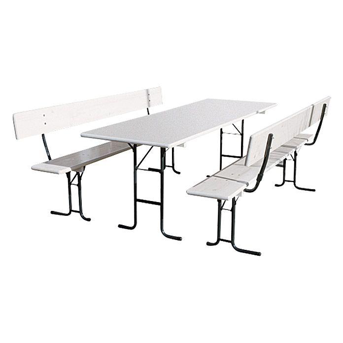 Sunfun Bierzeltgarnitur Masse Tisch 70 X 220 Cm Klappbar Holz Materialmix 3 Tlg Weiss Zelten Tisch Biertisch