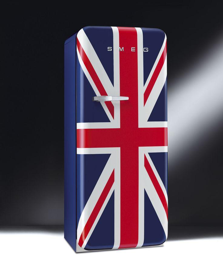 """retro """"Union Jack"""" smeg FAB28 refrigerator-freezer #fridge #flag #unionjack"""