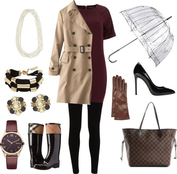 {On the blog} Rainy Day Outfits for Fall & Winter.  http://www.polyvore.com/mango_military_inspired_trends_for/thing?context_id=138291128&context_type=collection&id=120404565 #fallandwinter #rainydayoutfits #rainoutfits #outfit #rainboots #hunterboots