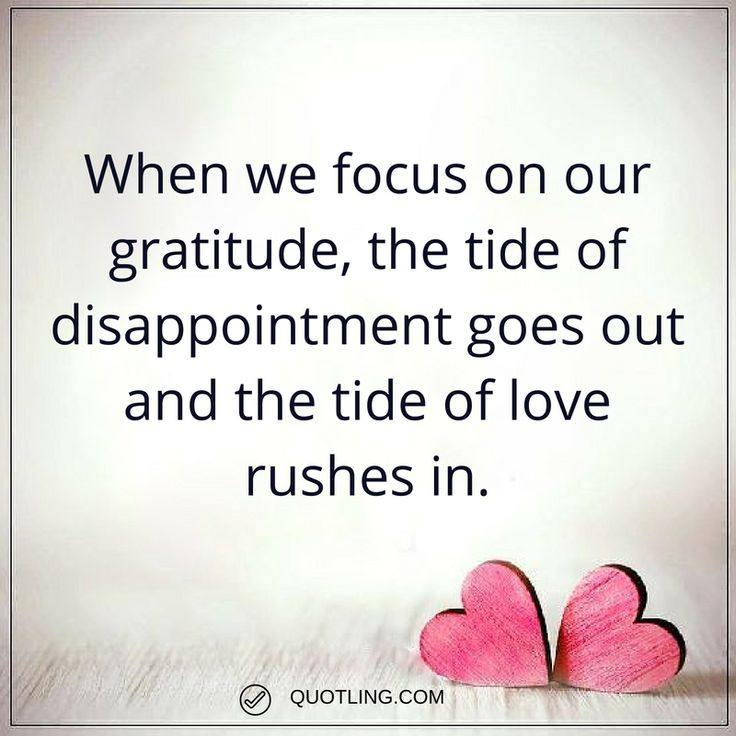 gratitude quotes When we focus on our gratitude, the tide of disappointment goes out and the tide of love rushes in.